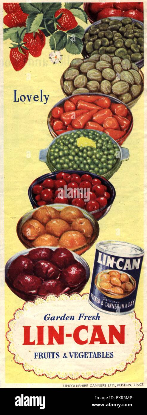 1950s UK Lin-Can Magazine Advert - Stock Image