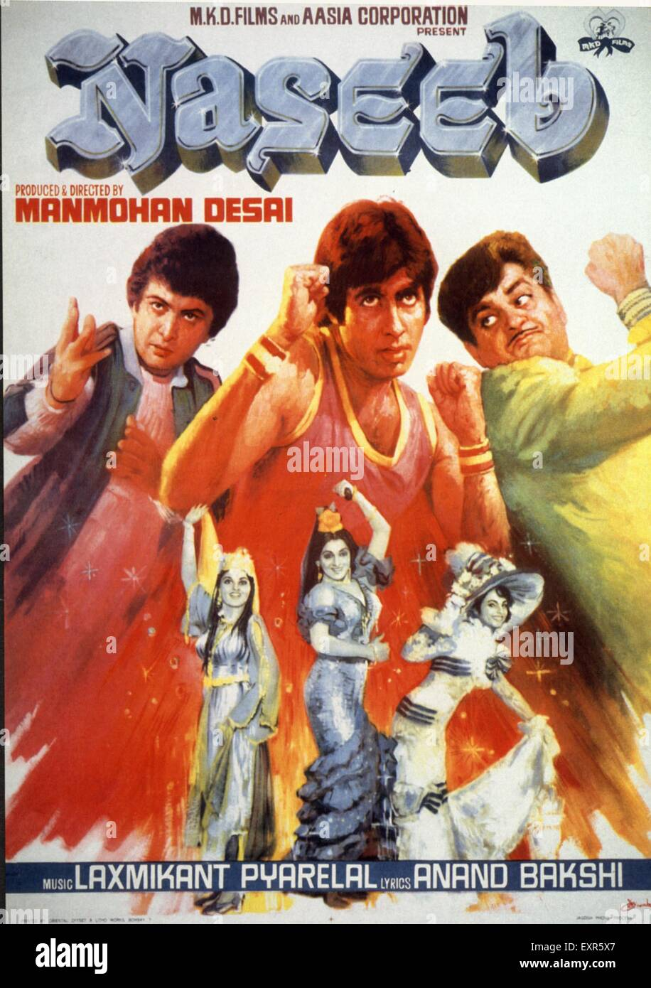 1980s India Naseeb Film Poster - Stock Image