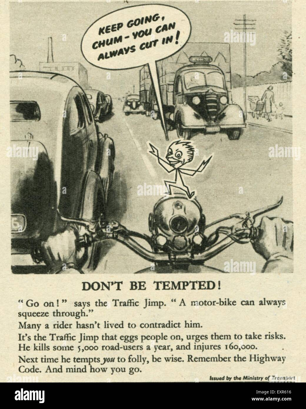 1940s UK Government Campaigns Road Safety Magazine Advert - Stock Image