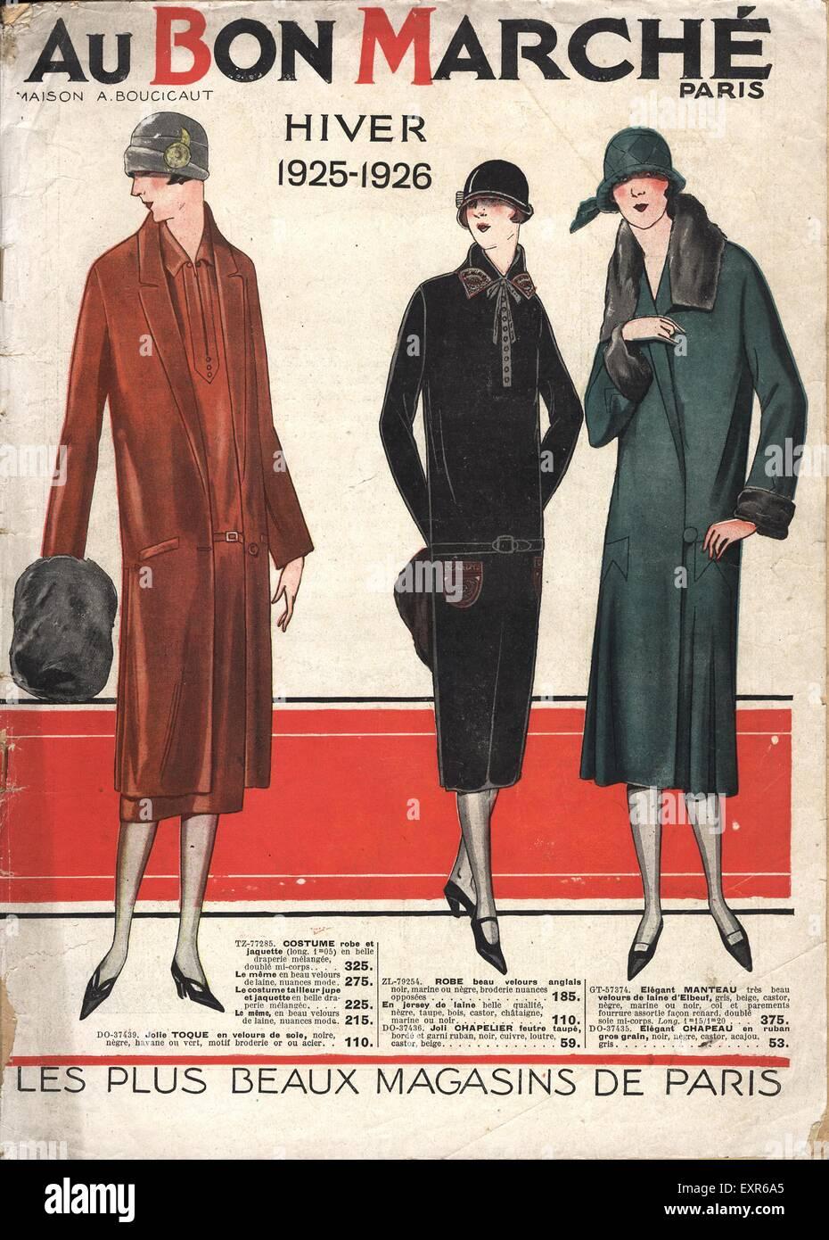 1920s France Au Bon Marche Catalogue/ Brochure Plate - Stock Image