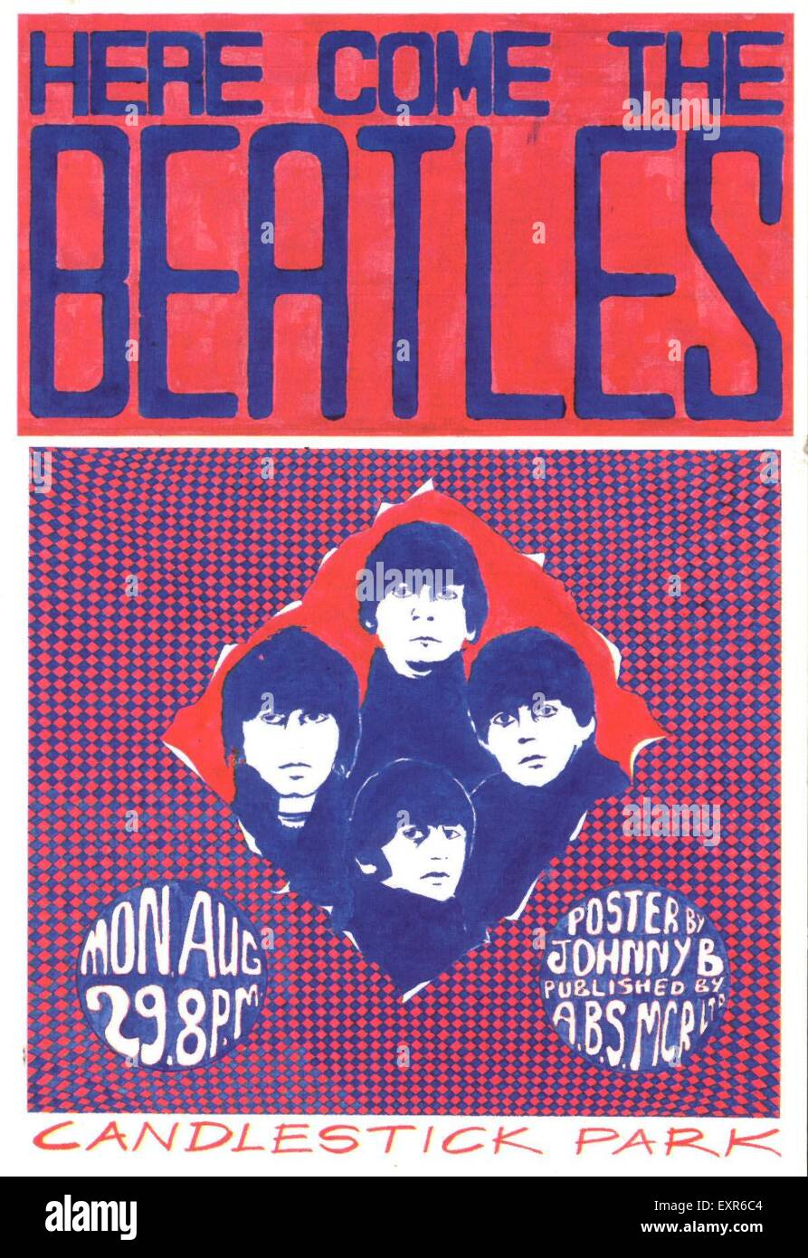 1960s UK Here Come The Beatles Poster - Stock Image