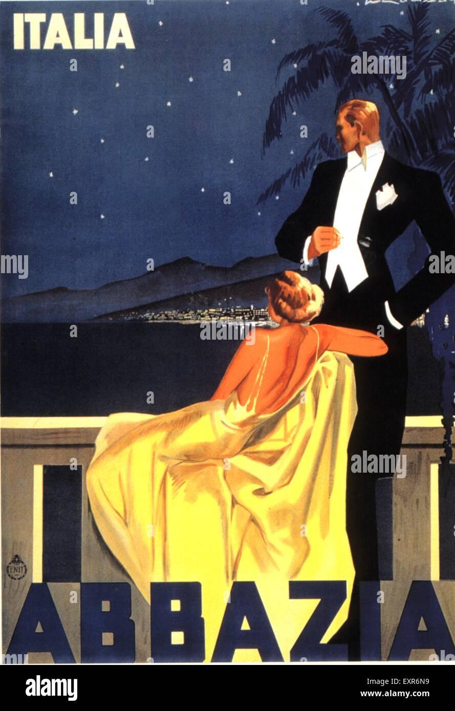 1930s Italy Abbazia Poster Stock Photo