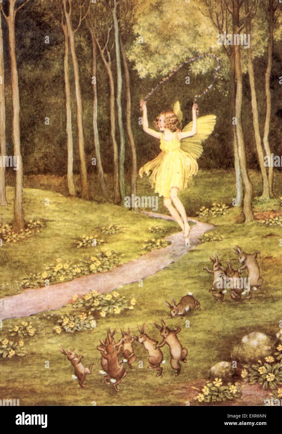 1900s UK Fairy Fairies Book Plate - Stock Image