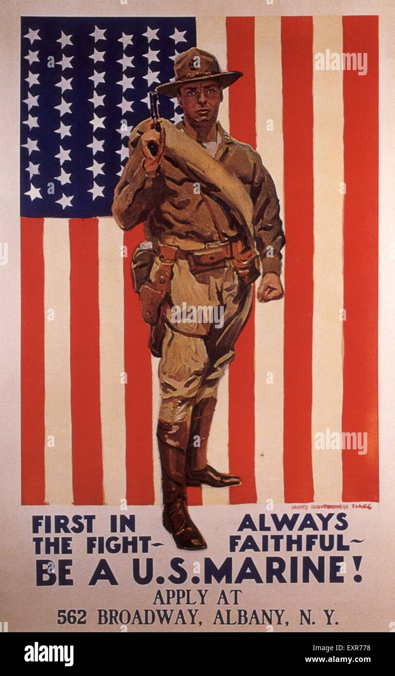 1910s USA WW1 Marines Poster - Stock Image