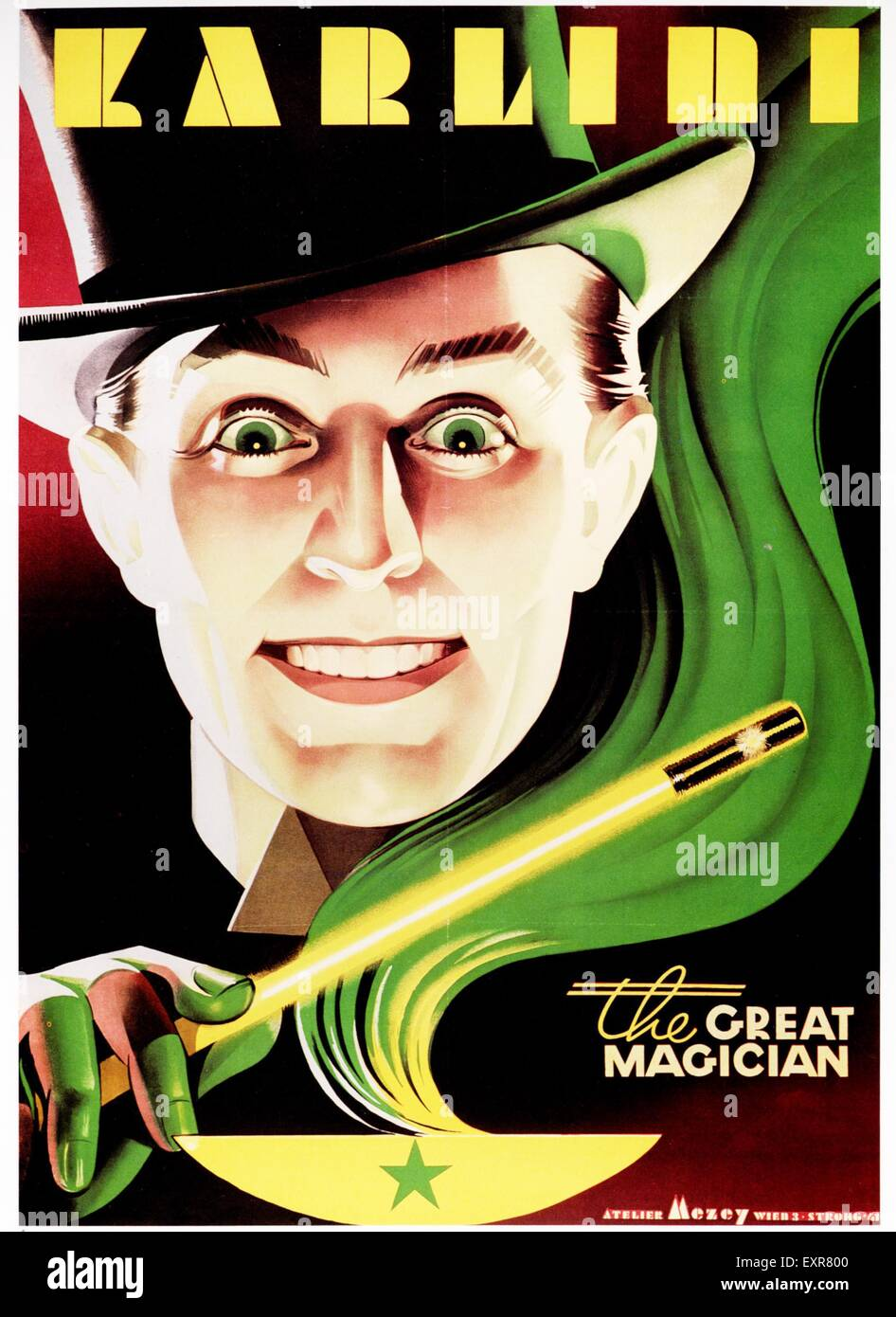 1930s USA Karlini The Magician Poster - Stock Image