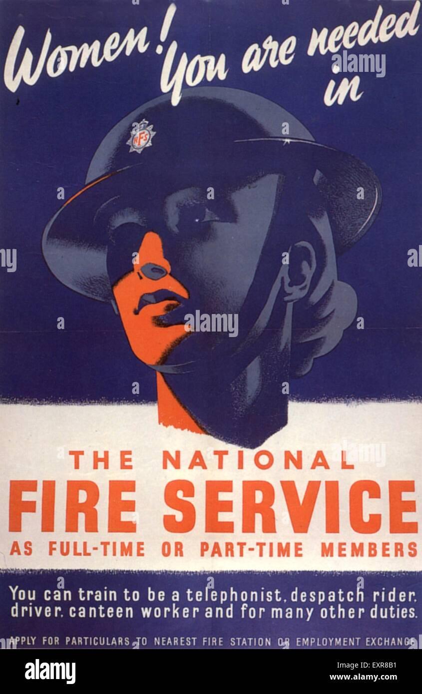 1940s UK National Fire Service Magazine Advert - Stock Image