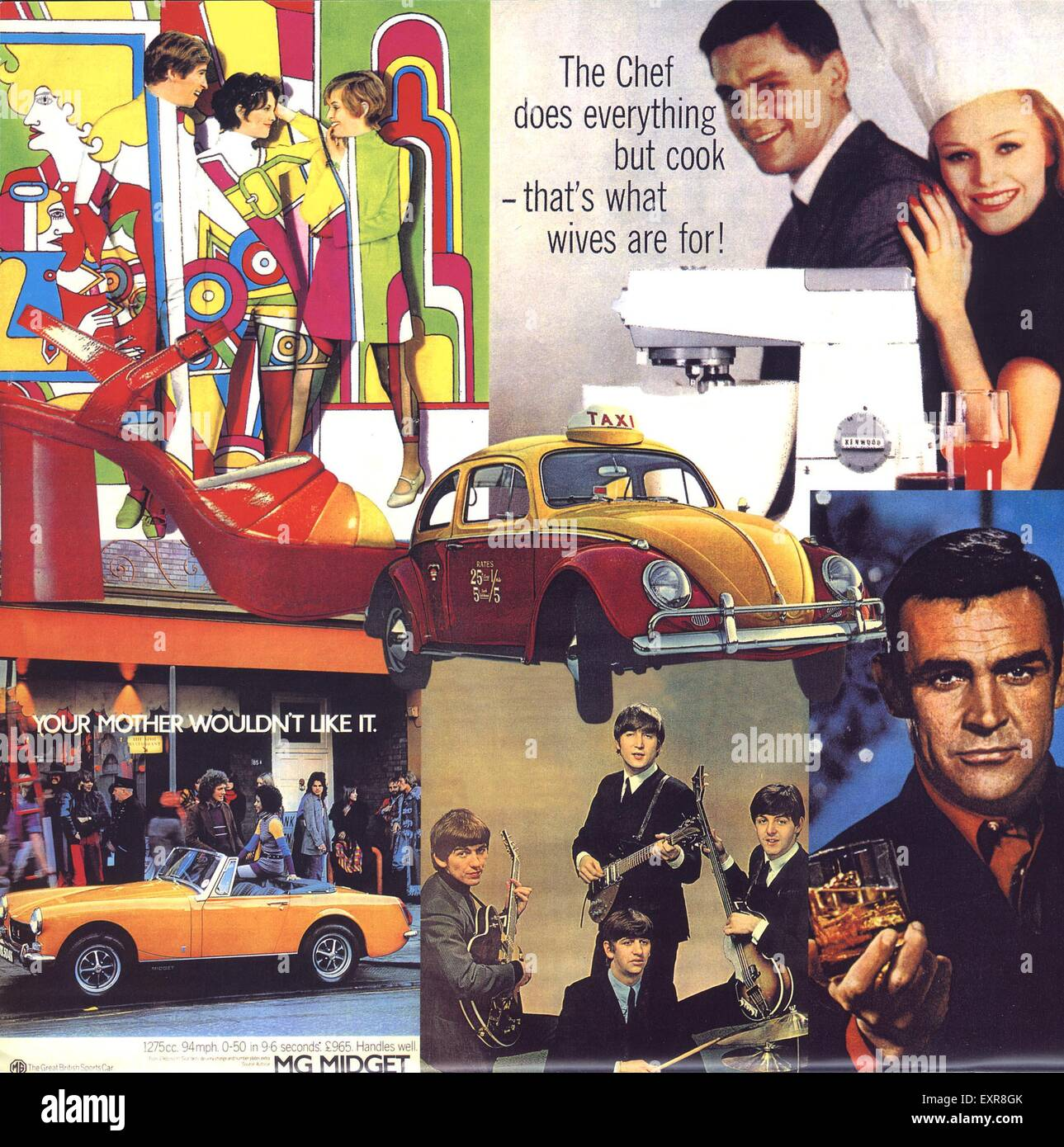 1960s UK Advertising Archives Montage Page Brochure Plate - Stock Image