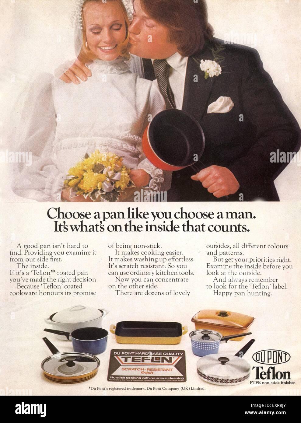 1970s UK Teflon Saucepans Magazine Advert - Stock Image