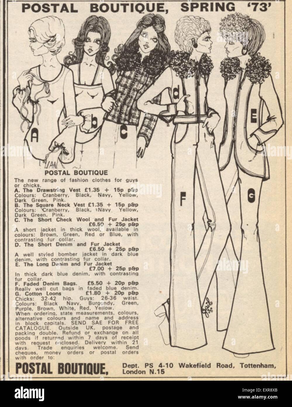 1970s UK Postal Boutique Magazine Advert - Stock Image