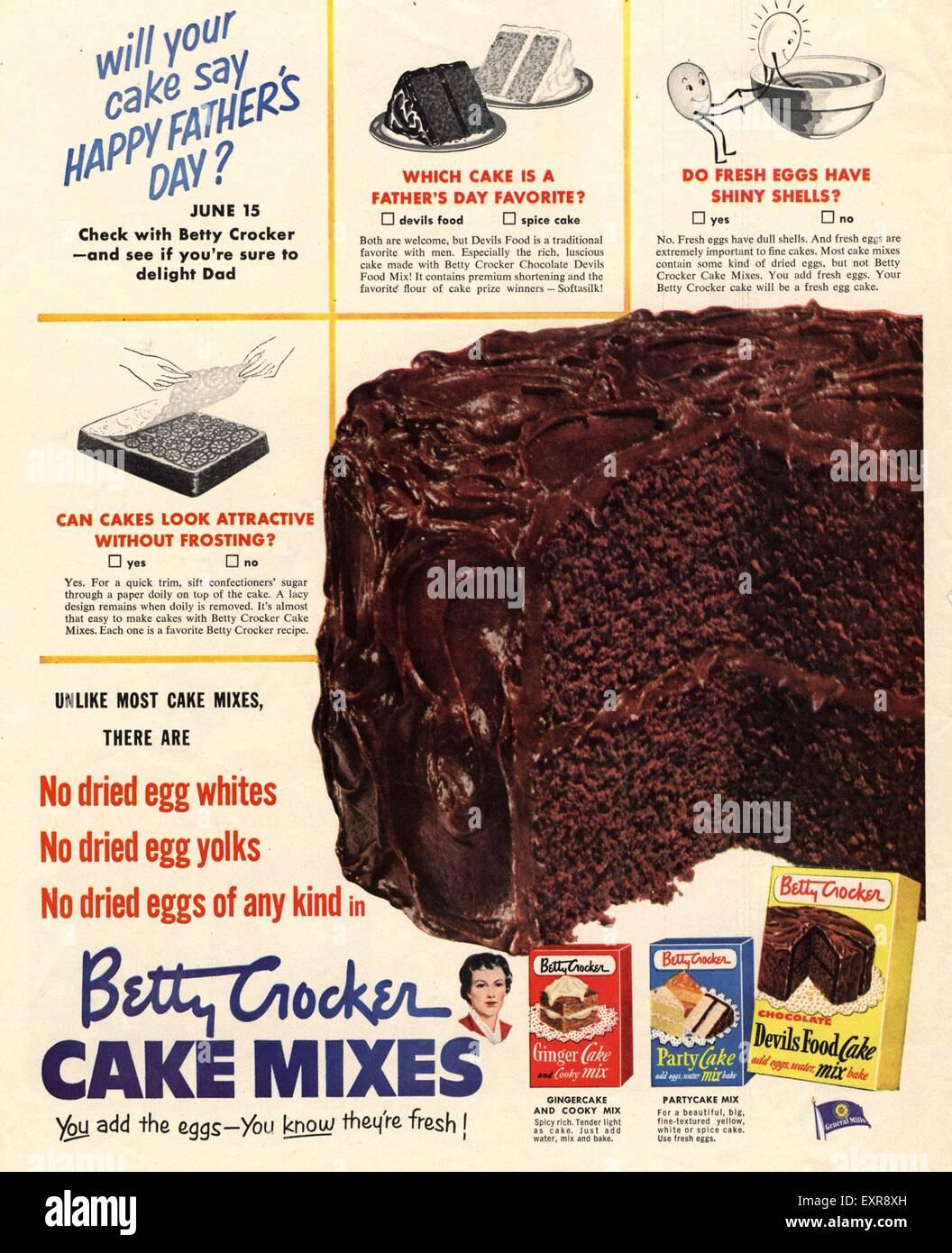 1950s USA Betty Crocker Magazine Advert - Stock Image