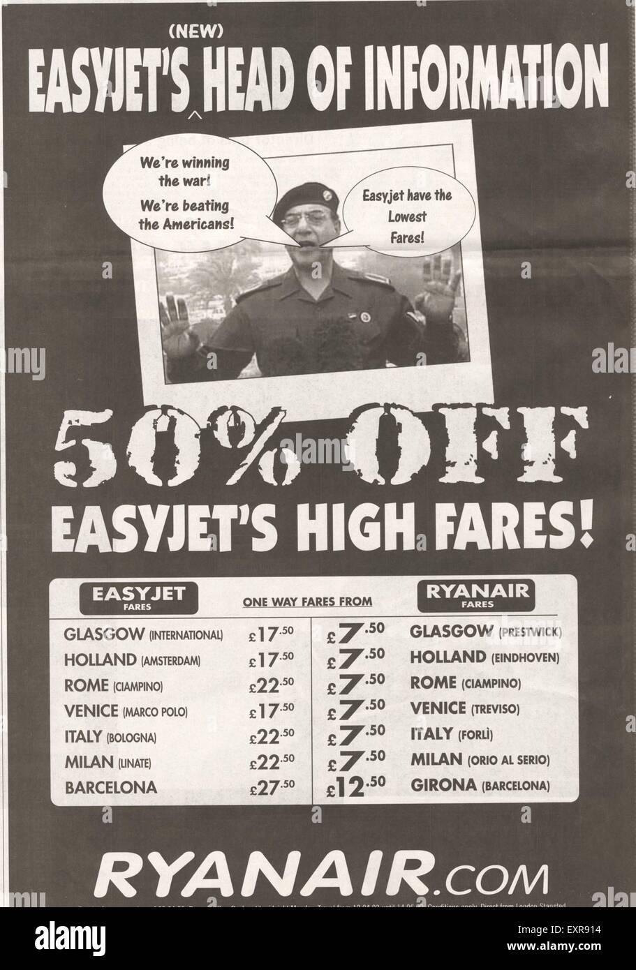 2000s UK Ryan Air  Ryanair Airlines Newspaper Advert - Stock Image