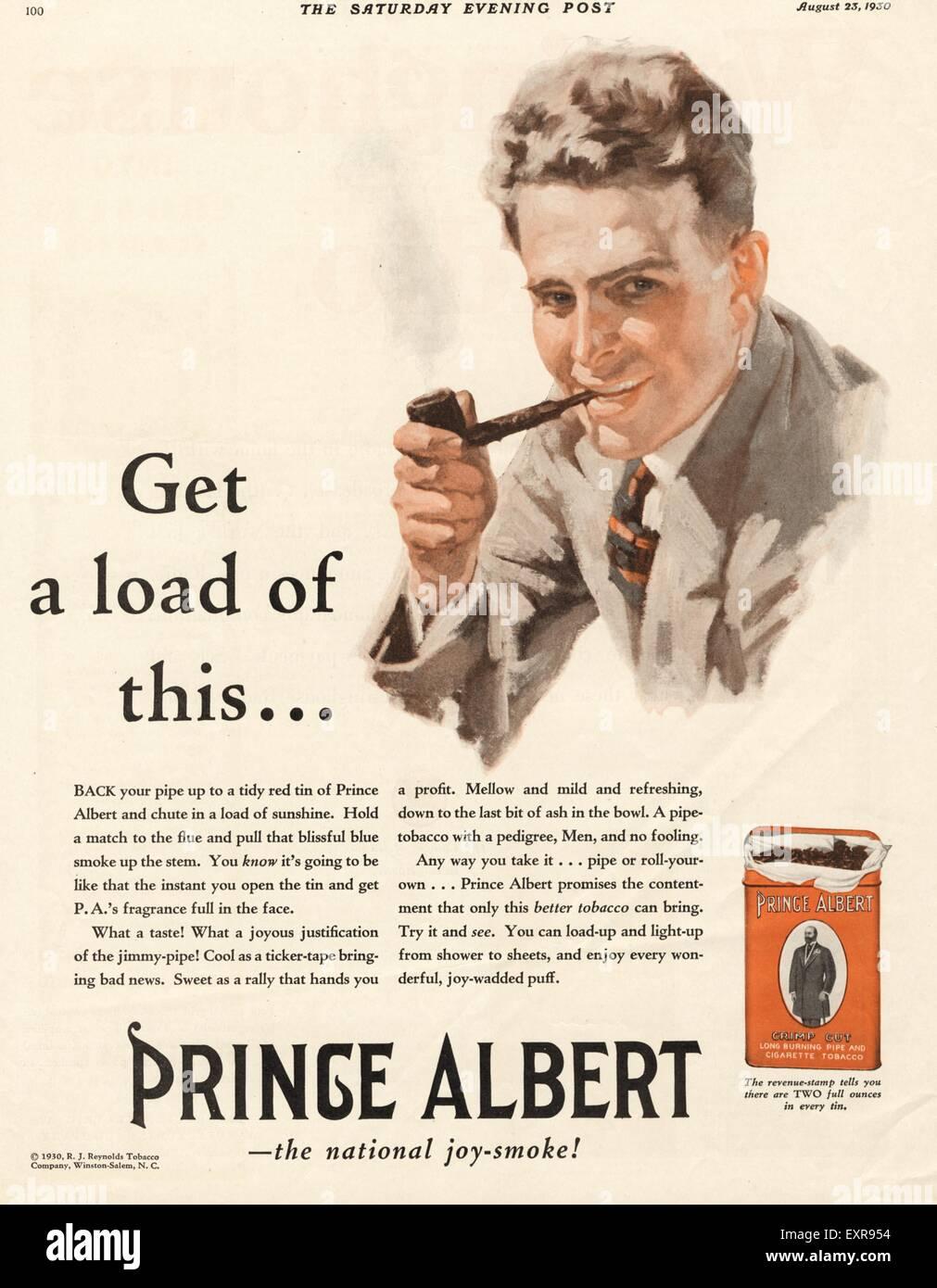 1930s USA Prince Albert Magazine Advert - Stock Image