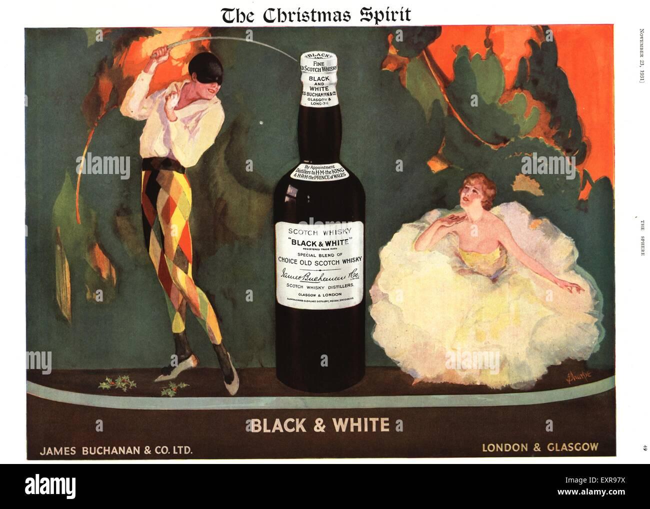 1930s UK Black and White Christmas Magazine Advert - Stock Image