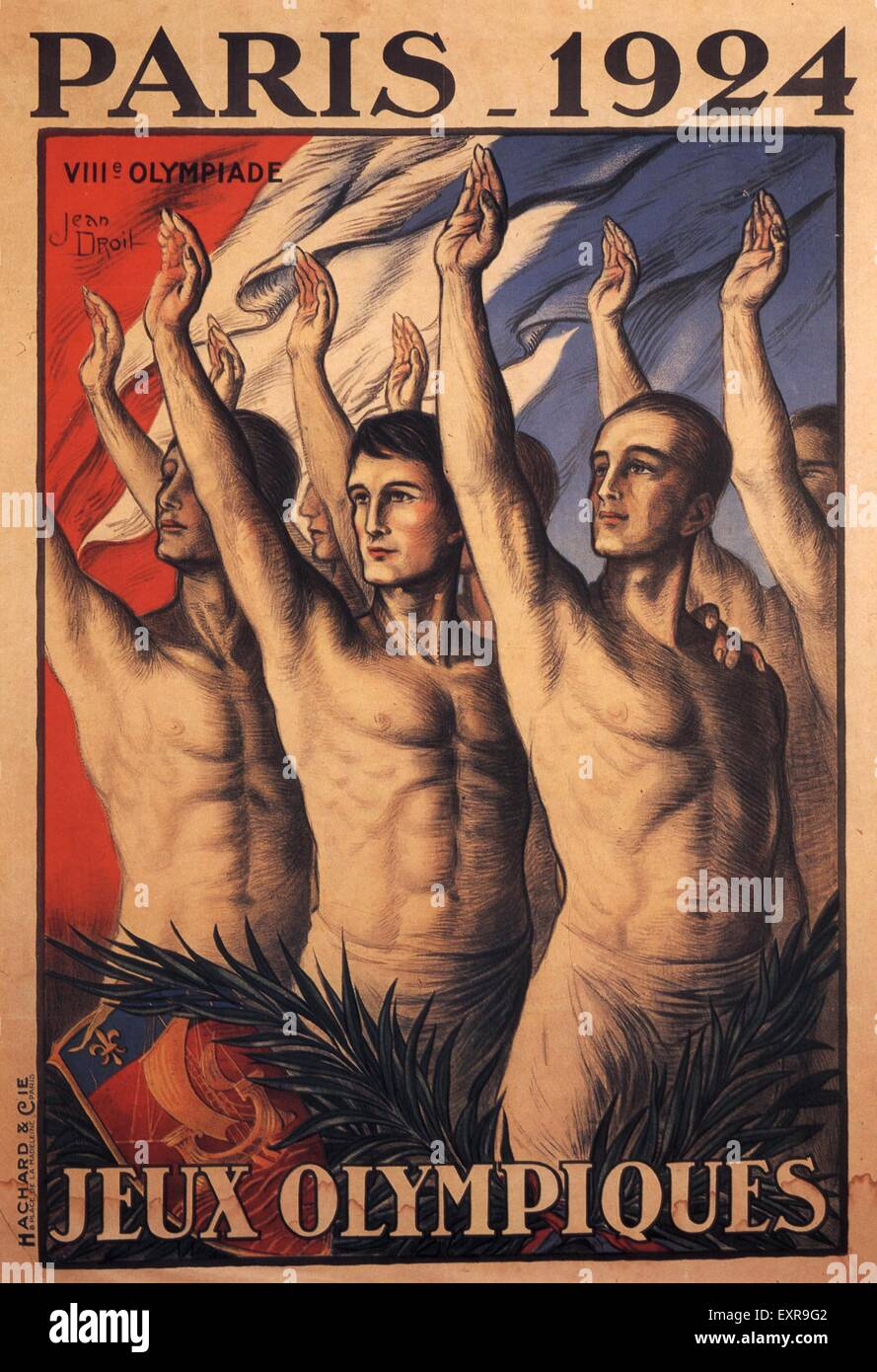 1920s France Olympic Games Poster - Stock Image