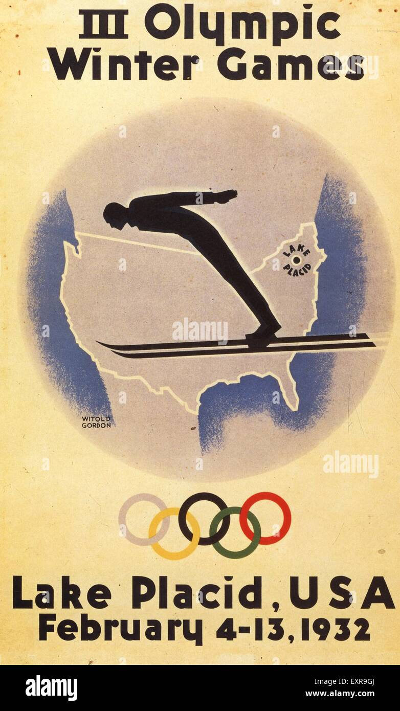1930s USA Olympic Games Poster - Stock Image