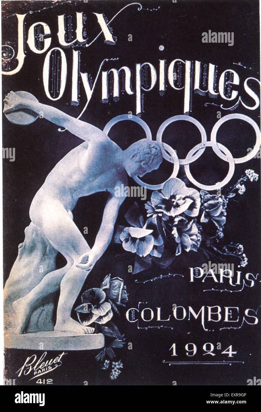 1920s France Olympic Games Poster Stock Photo