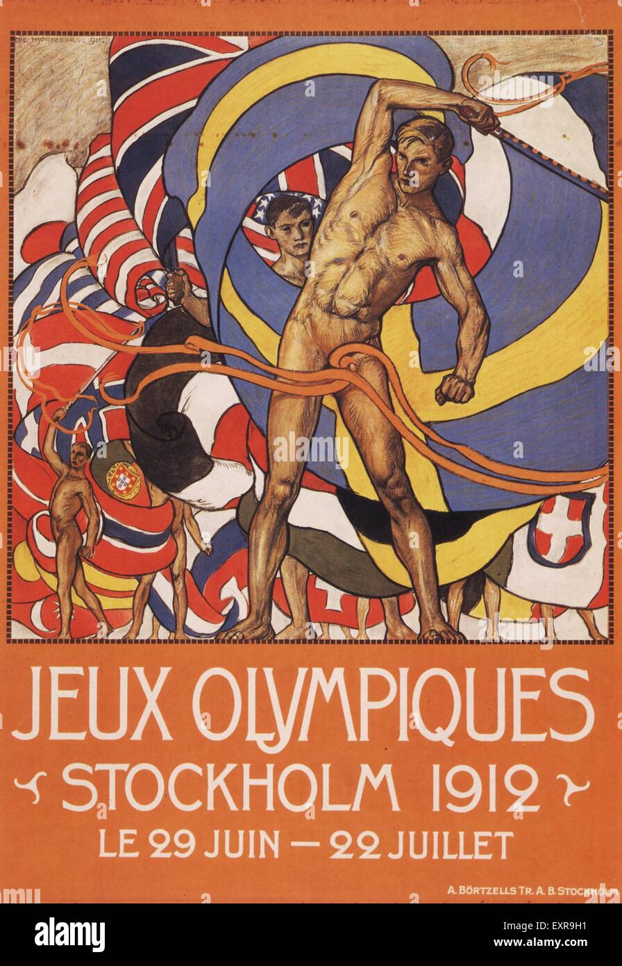 1910s Sweden Olympic Games Poster - Stock Image