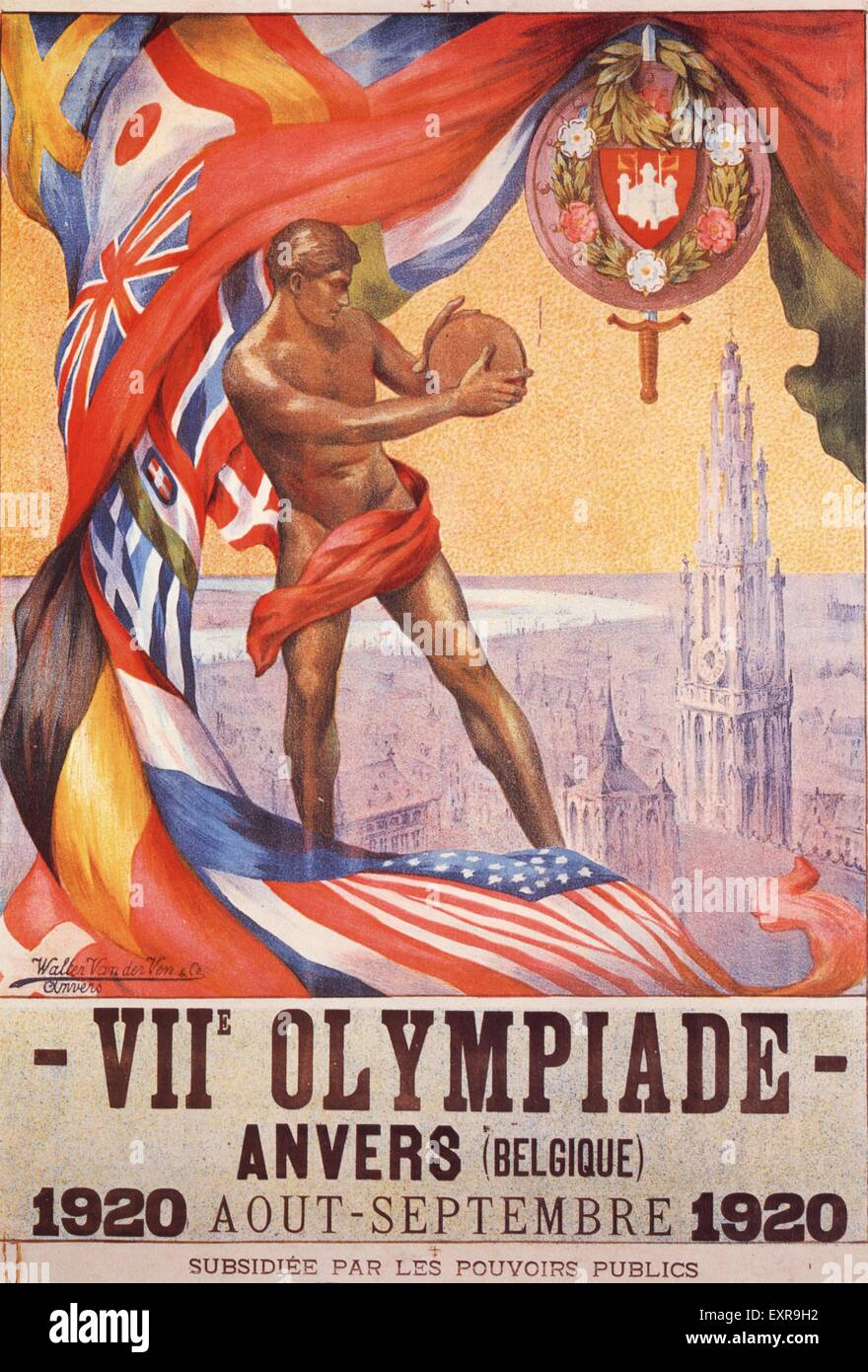 1920s Belgium Olympic Games Poster - Stock Image