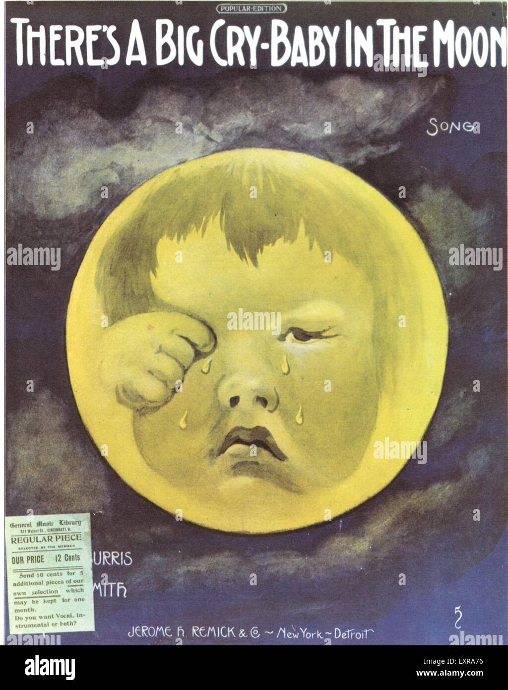 1930s USA Man in the Moon Sheet Music Cover - Stock Image