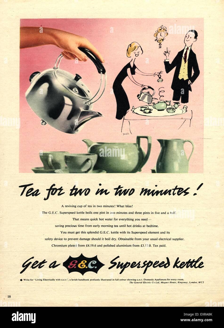 1950s UK GEC Magazine Advert Stock Photo: 85335507 - Alamy