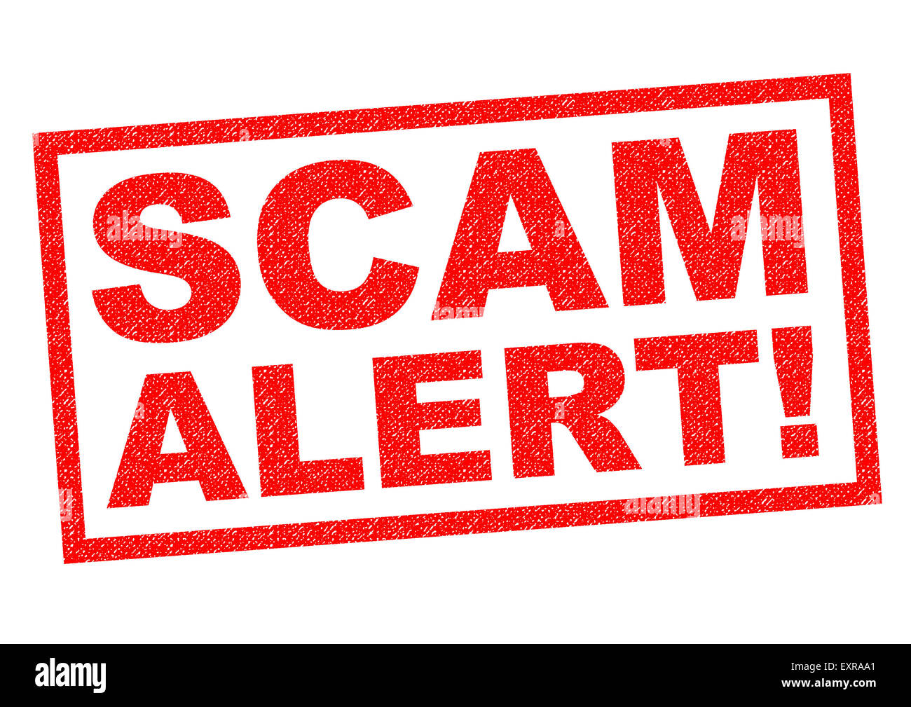 SCAM ALERT! red Rubber Stamp over a white background. - Stock Image