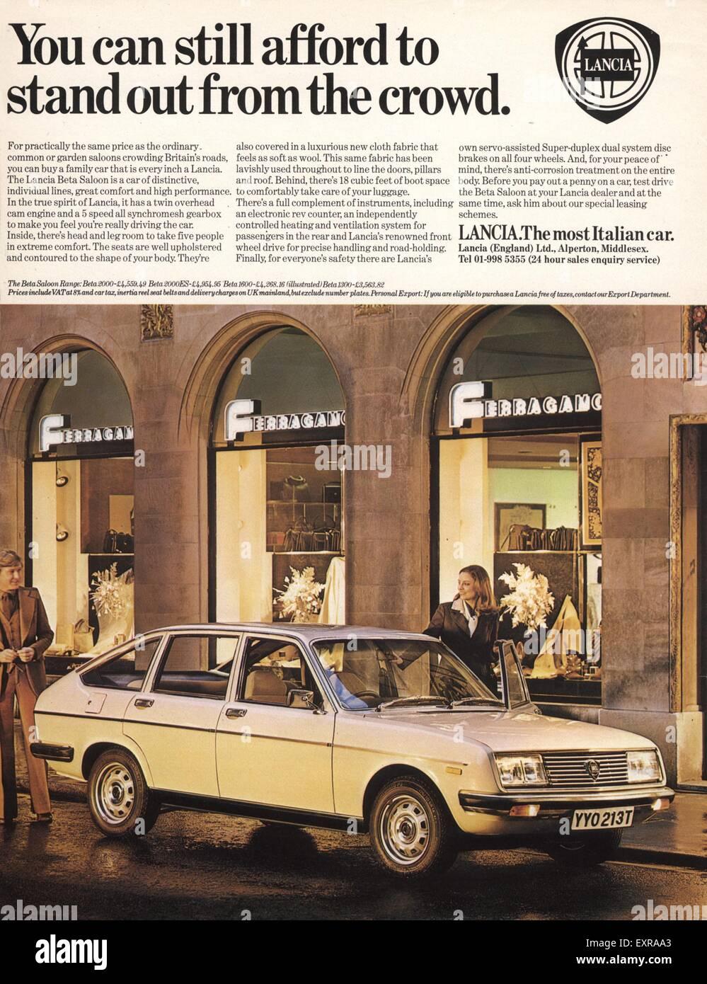 1970s UK Lancia Magazine Advert - Stock Image
