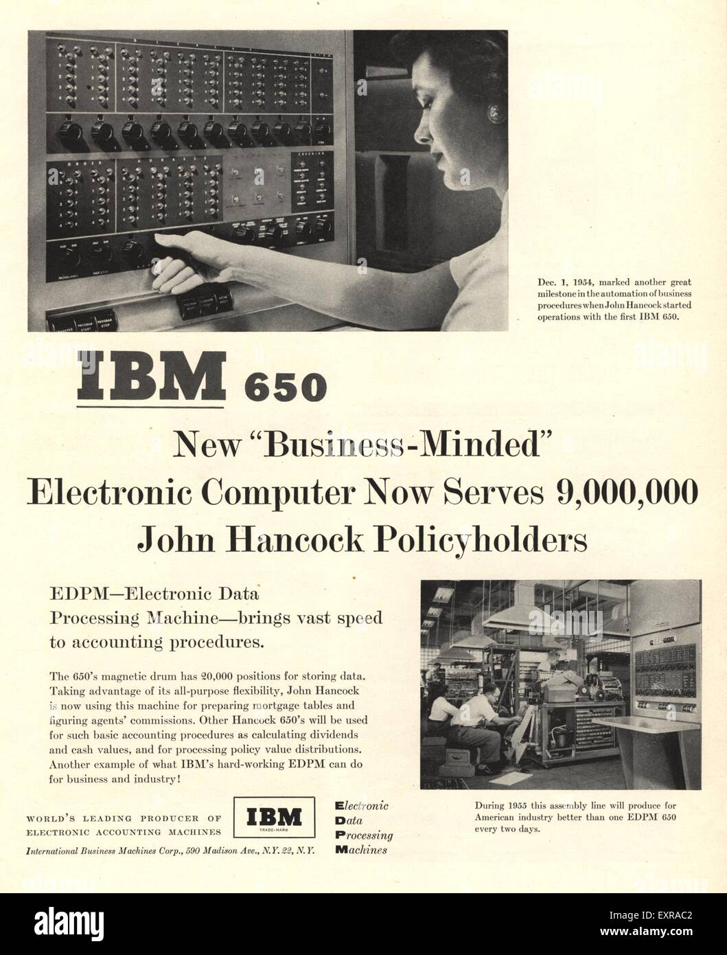 1950s USA IBM Magazine Advert - Stock Image