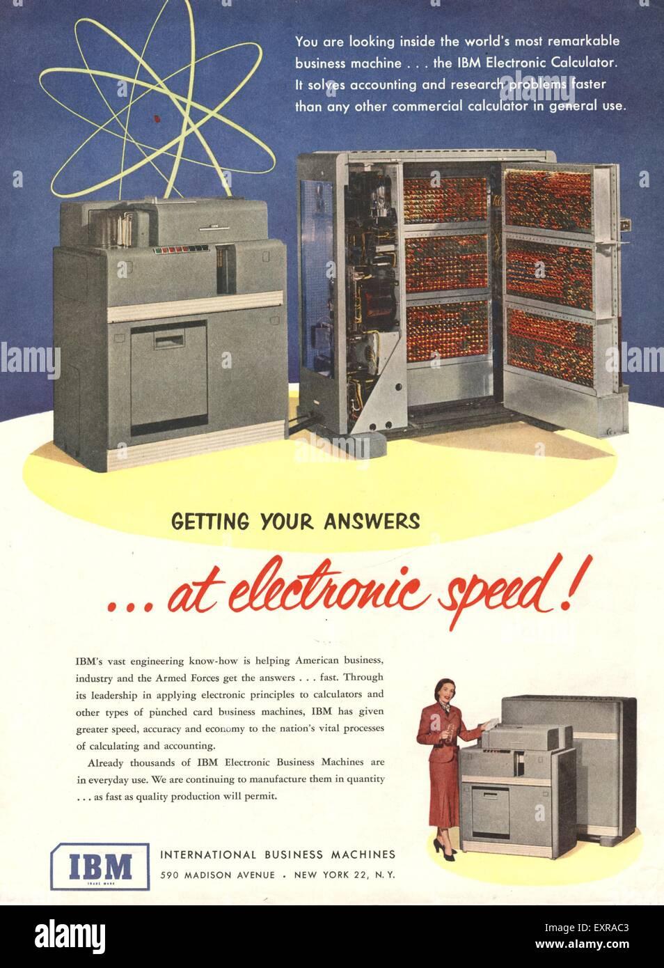 1950s USA IBM Magazine Advert Stock Photo