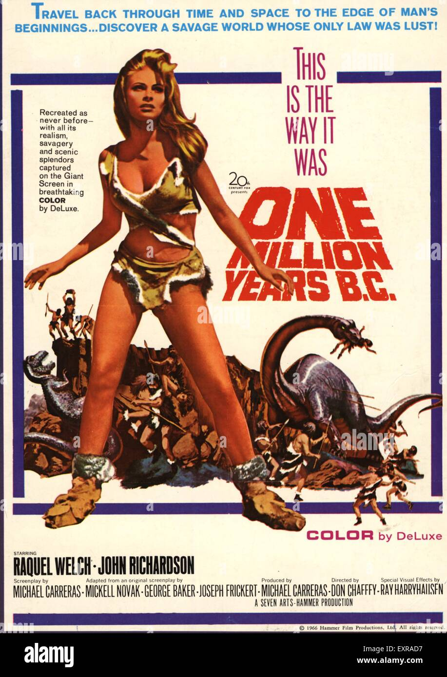 1960s USA One Million Years BC Film Poster - Stock Image