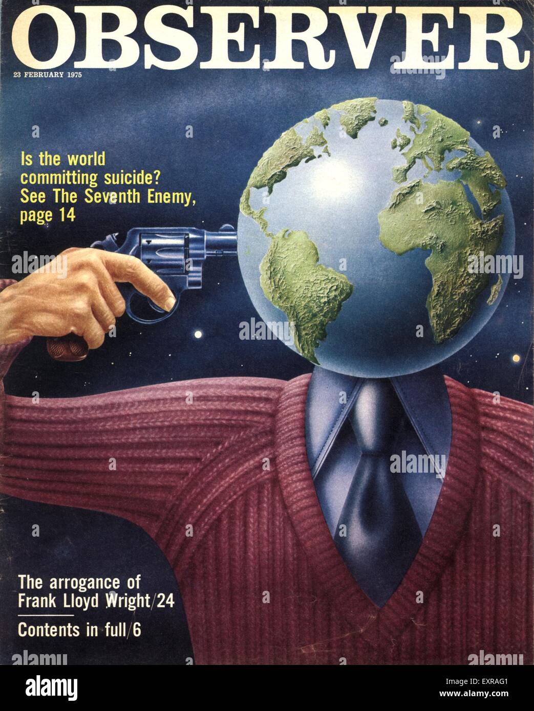1970s UK Observer World Suicide Magazine Cover - Stock Image