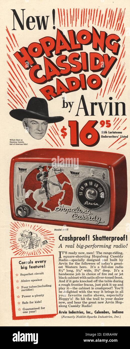 1950s USA Hopalong Cassidy Radio Magazine Advert