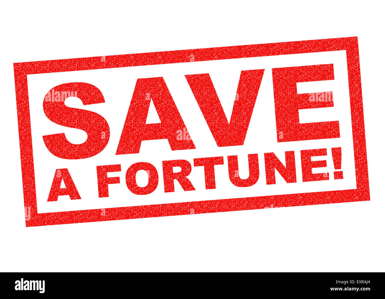 SAVE A FORTUNE! red Rubber Stamp over a white background. - Stock Image