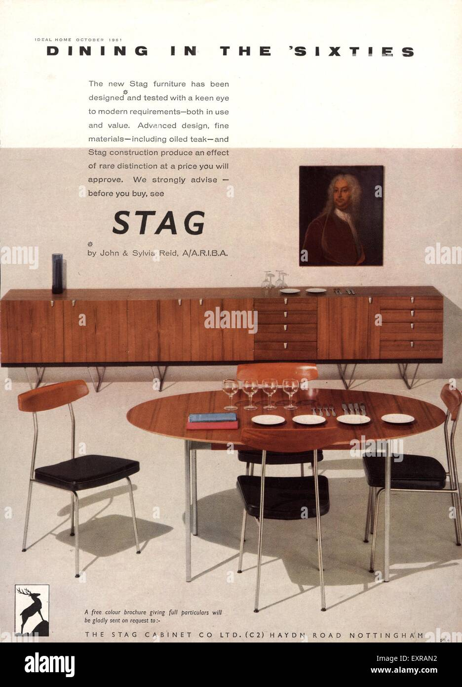 1960s UK Stag Furniture Magazine Advert   Stock Image