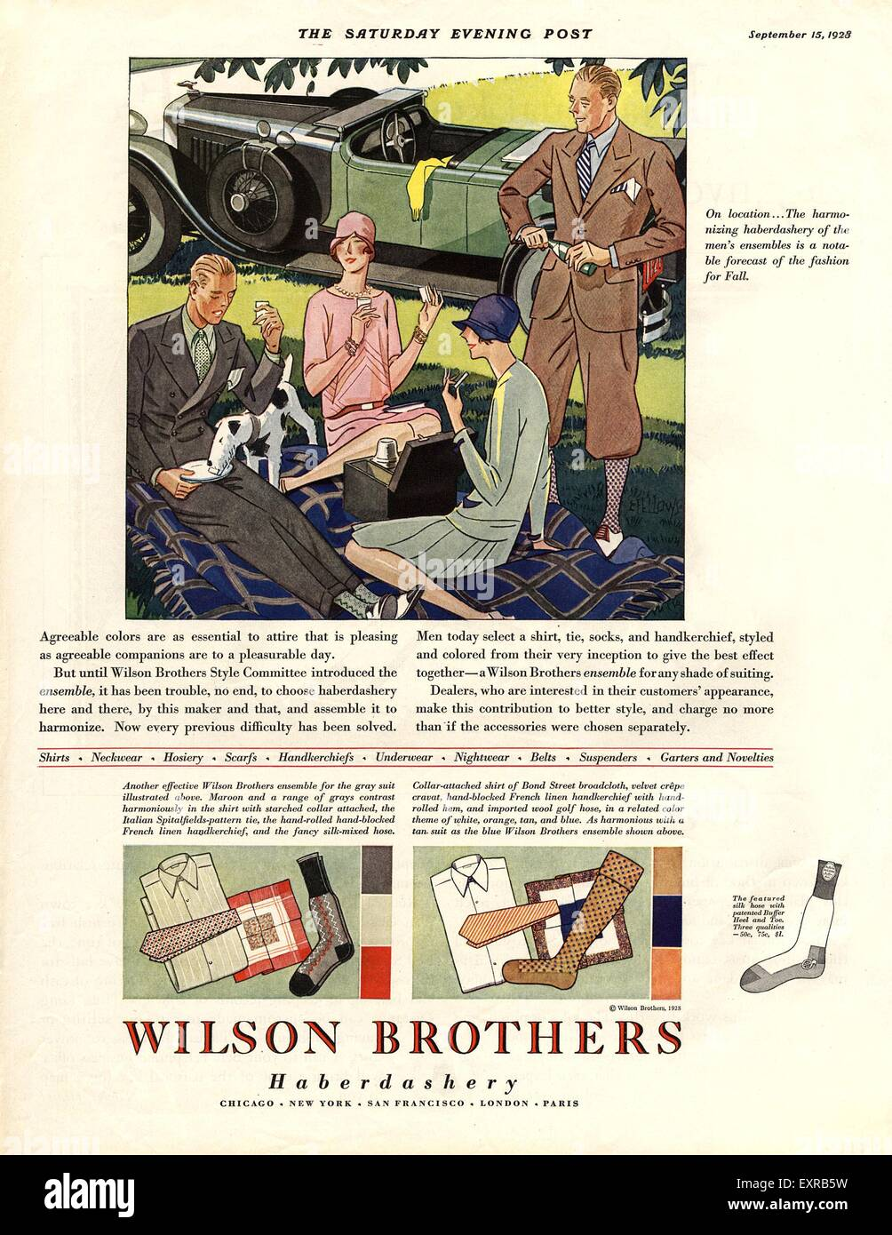 1920s USA Wilson Brothers Magazine Advert - Stock Image