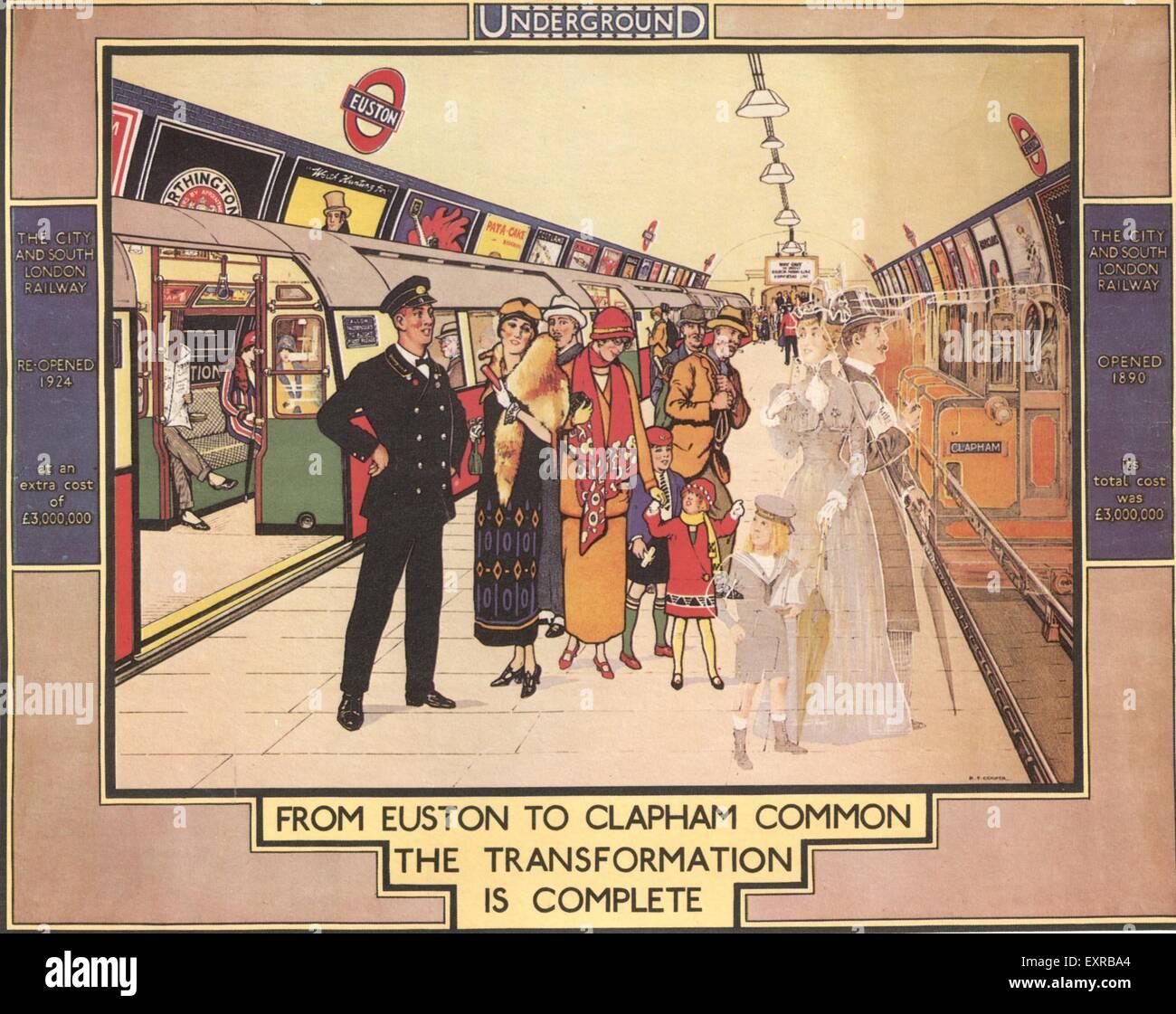 1920s UK The Underground Trains Poster - Stock Image