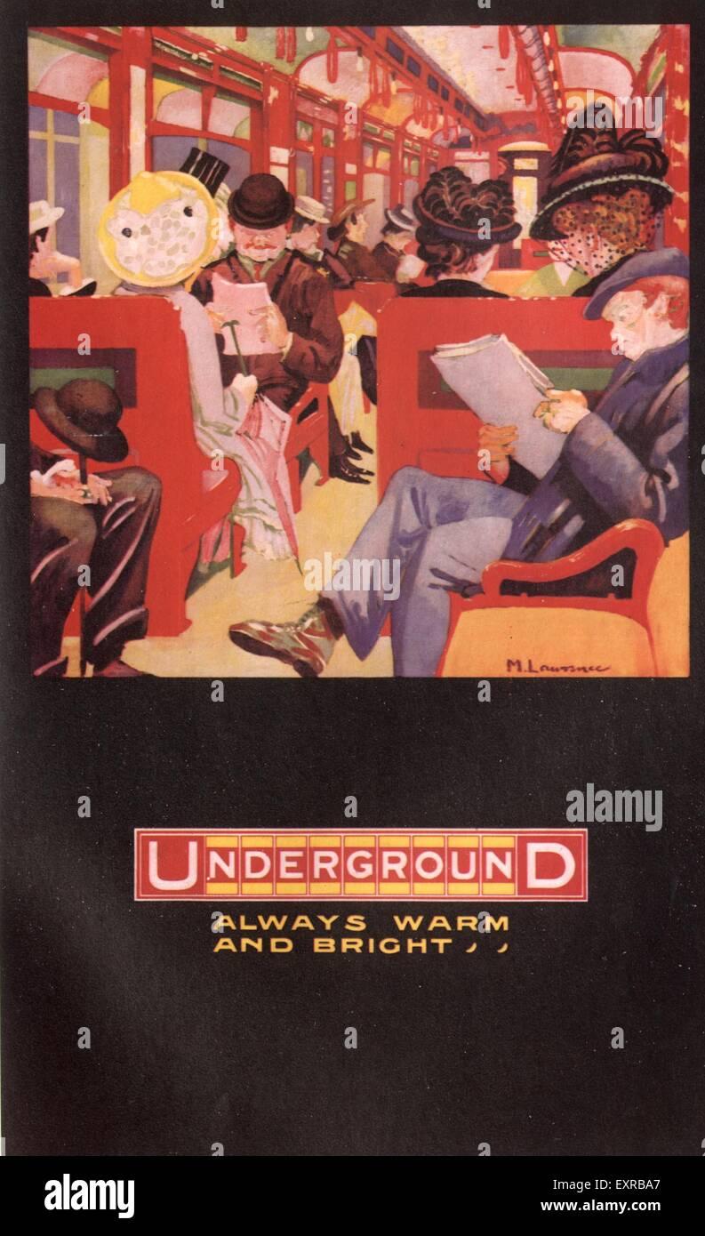 1930s UK The Underground Trains Poster - Stock Image