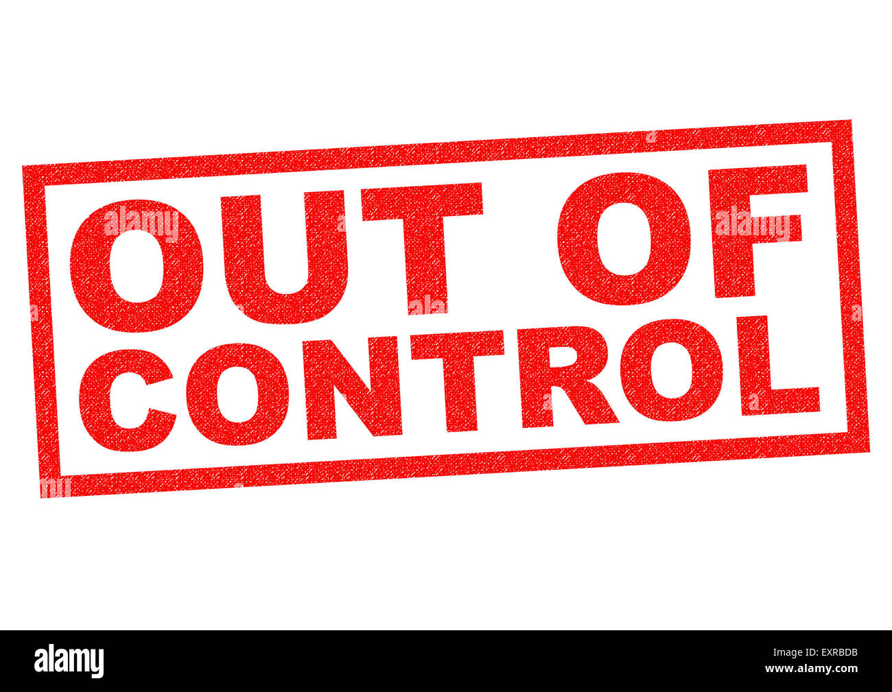 OUT OF CONTROL red Rubber Stamp over a white background. - Stock Image