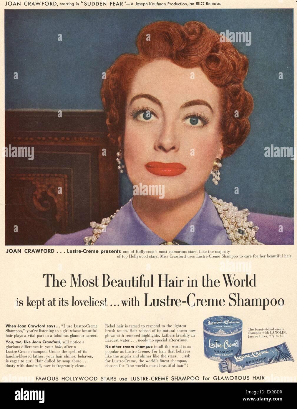 1950s USA Lustre-Creme Magazine Advert - Stock Image