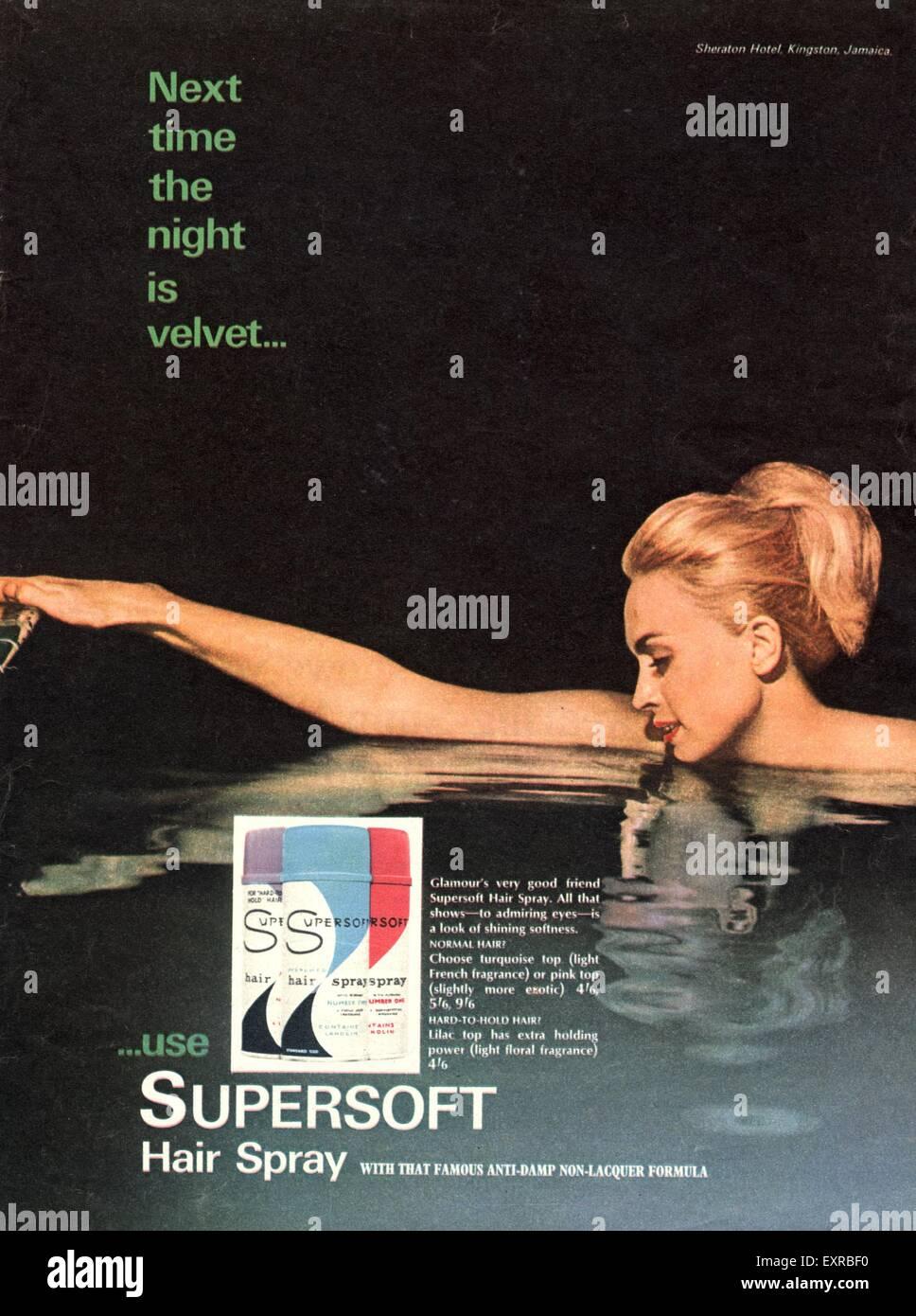 1960s UK Supersoft Hairspray Magazine Advert Stock Photo