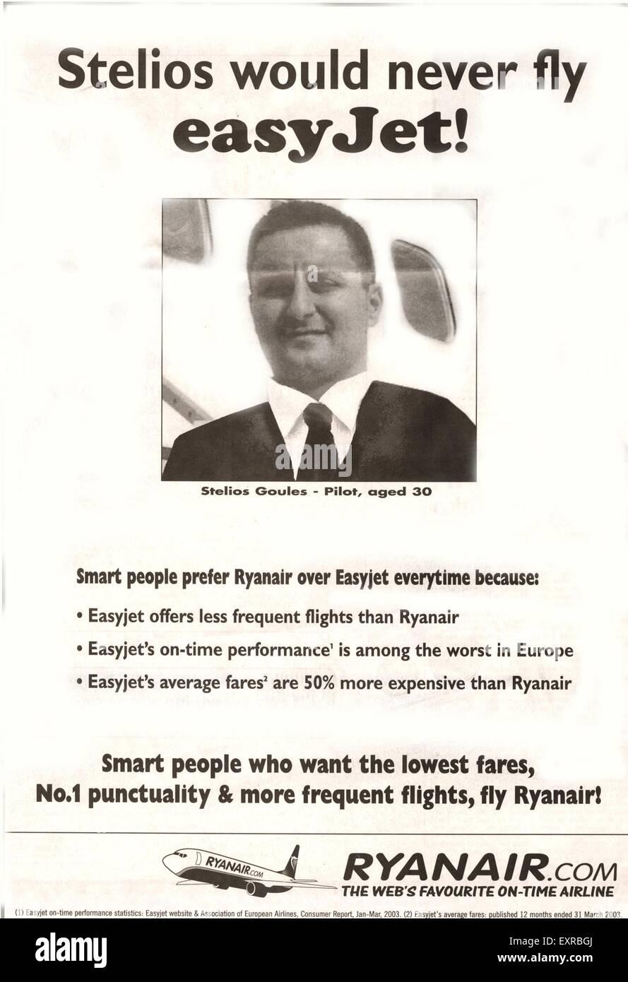 2000s UK Ryan Air  Ryanair Airlines Magazine Advert - Stock Image