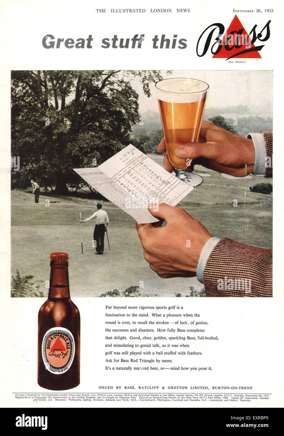 Bass Beer Triangle Red or Blue Vintage Print Pub Advert Picture Barman Photo