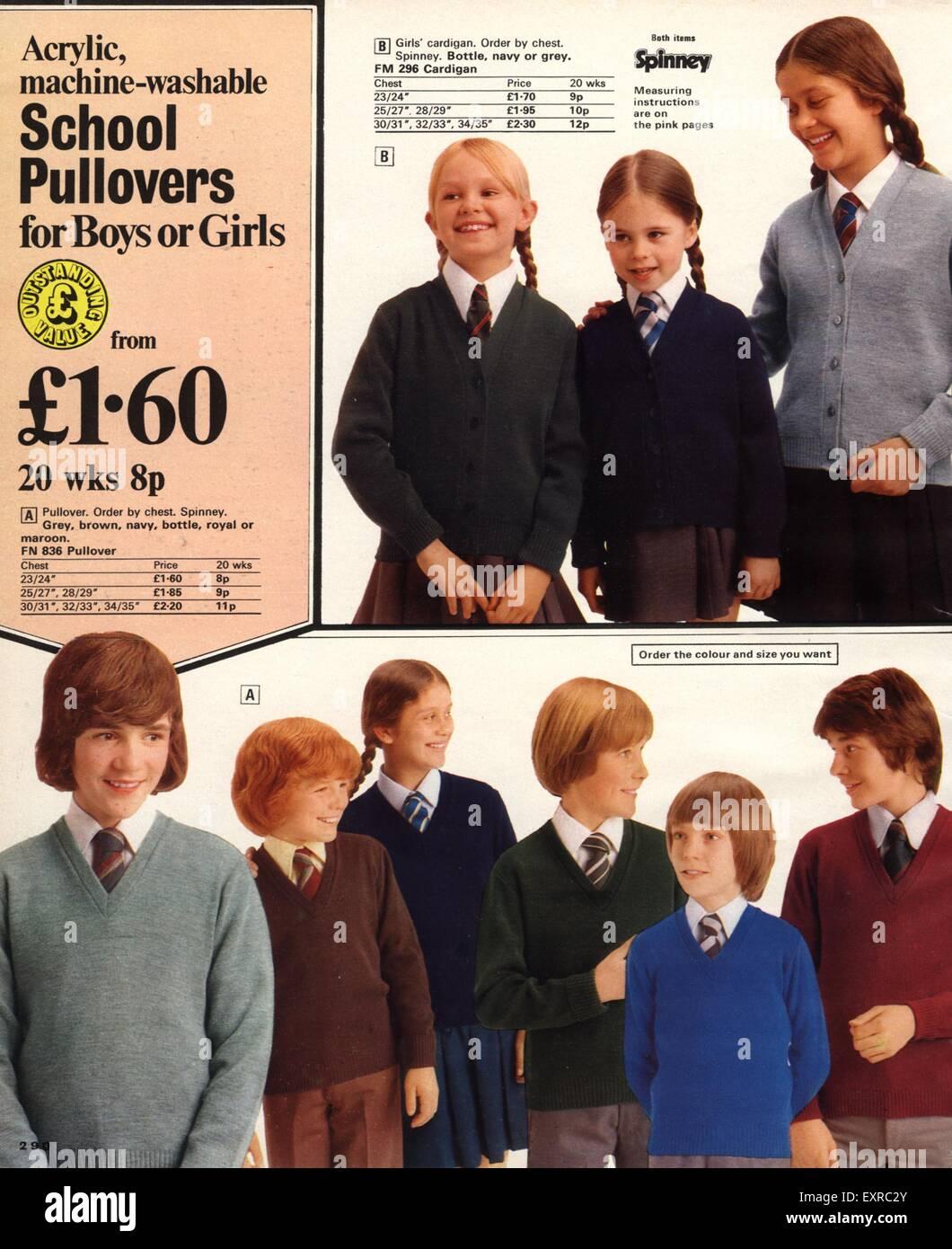 1970s UK School Uniforms Catalogue Plate - Stock Image