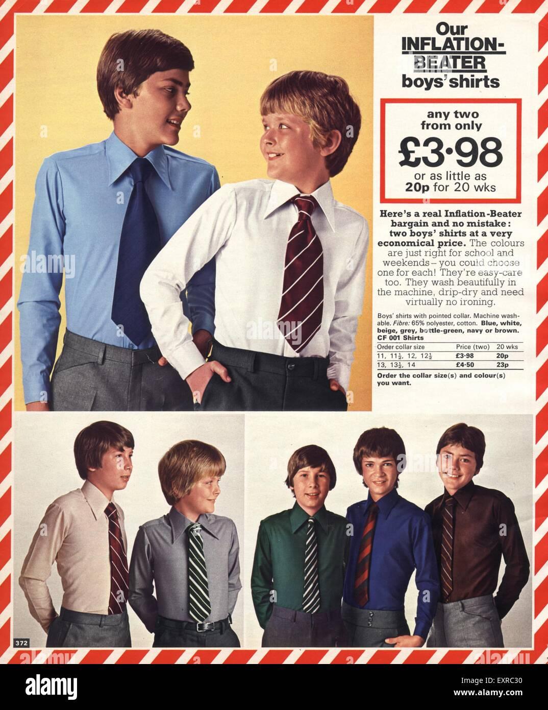 1970s UK School Uniforms Catalogue/ Brochure Plate - Stock Image