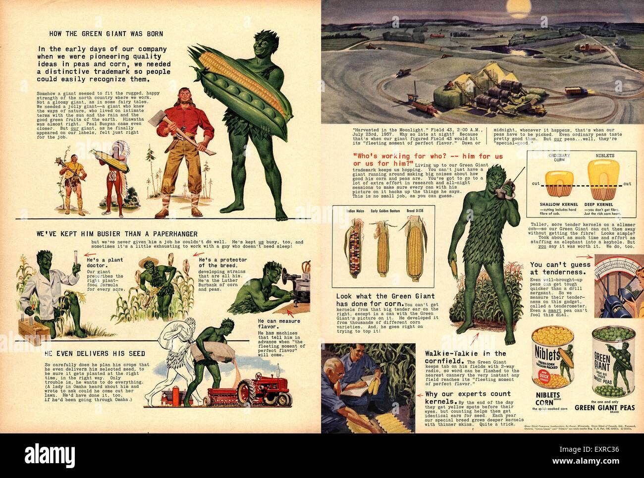 1950s USA Niblets Jolly Green Giant Magazine Advert - Stock Image