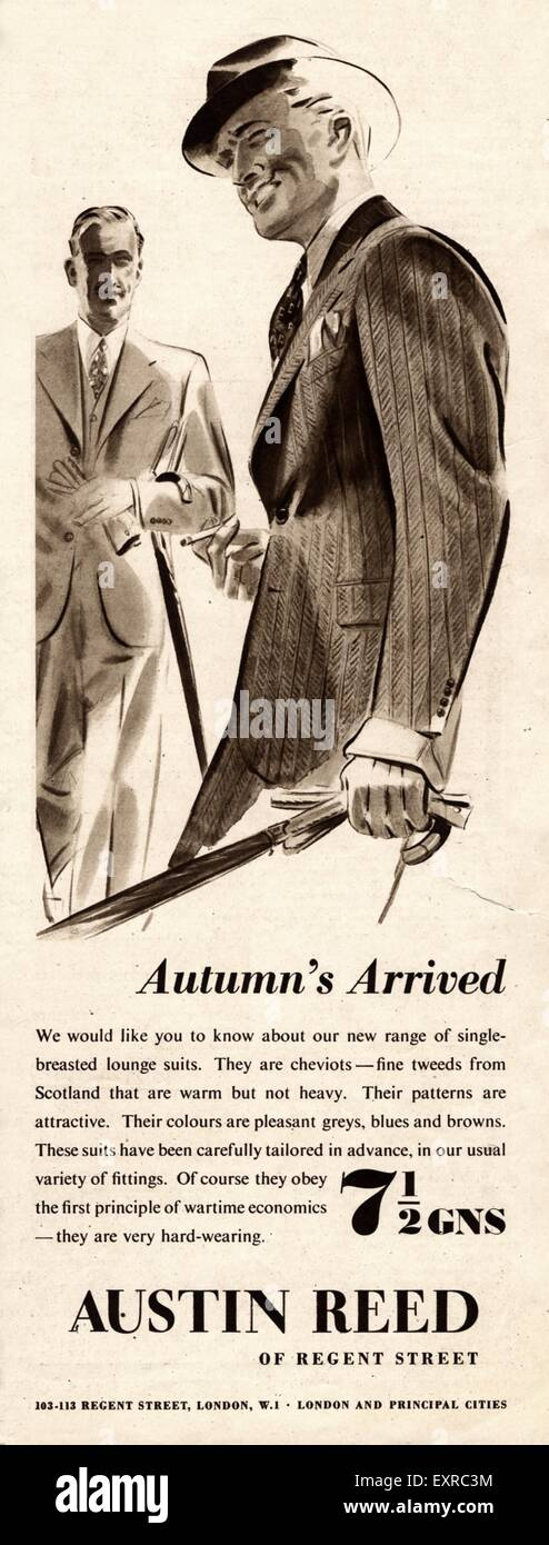 1940s Uk Austin Reed Magazine Advert Stock Photo Alamy