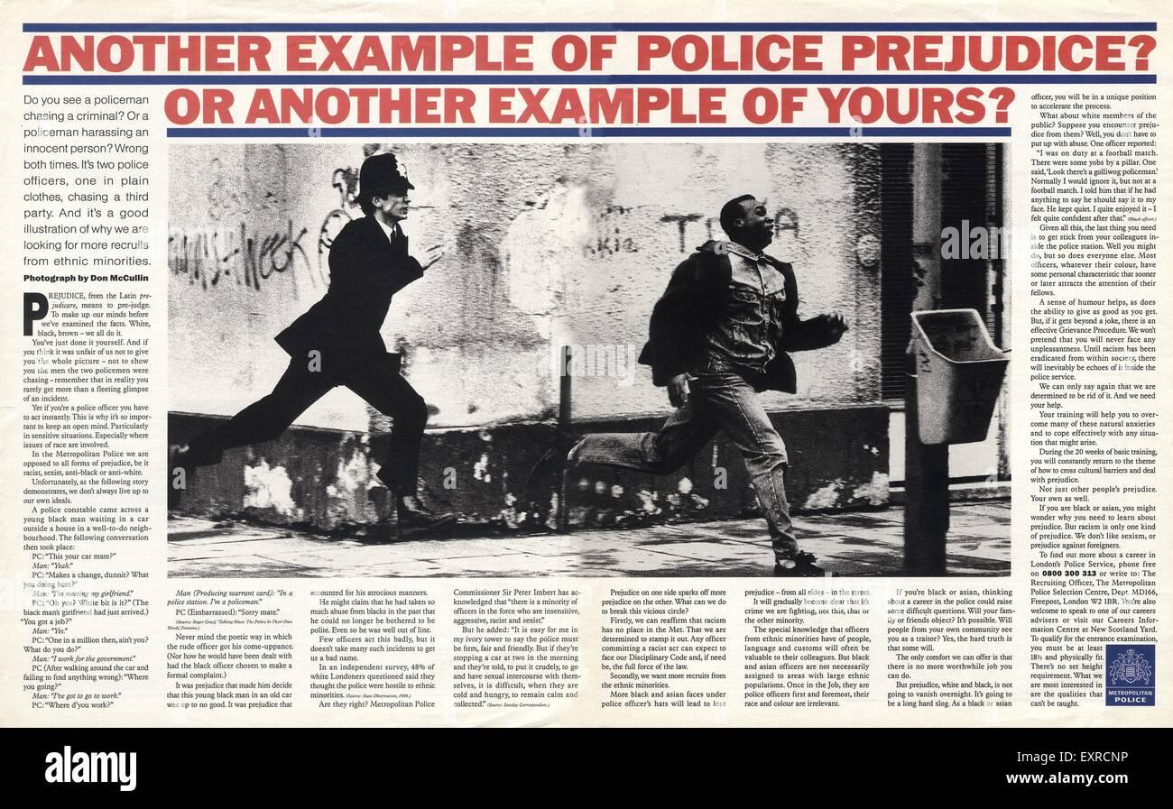 1980s UK Police Anti-Racism Magazine Advert - Stock Image