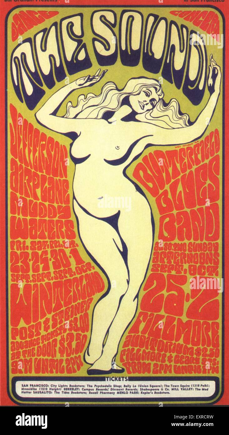 1960s USA Psychedelic Posters Poster - Stock Image