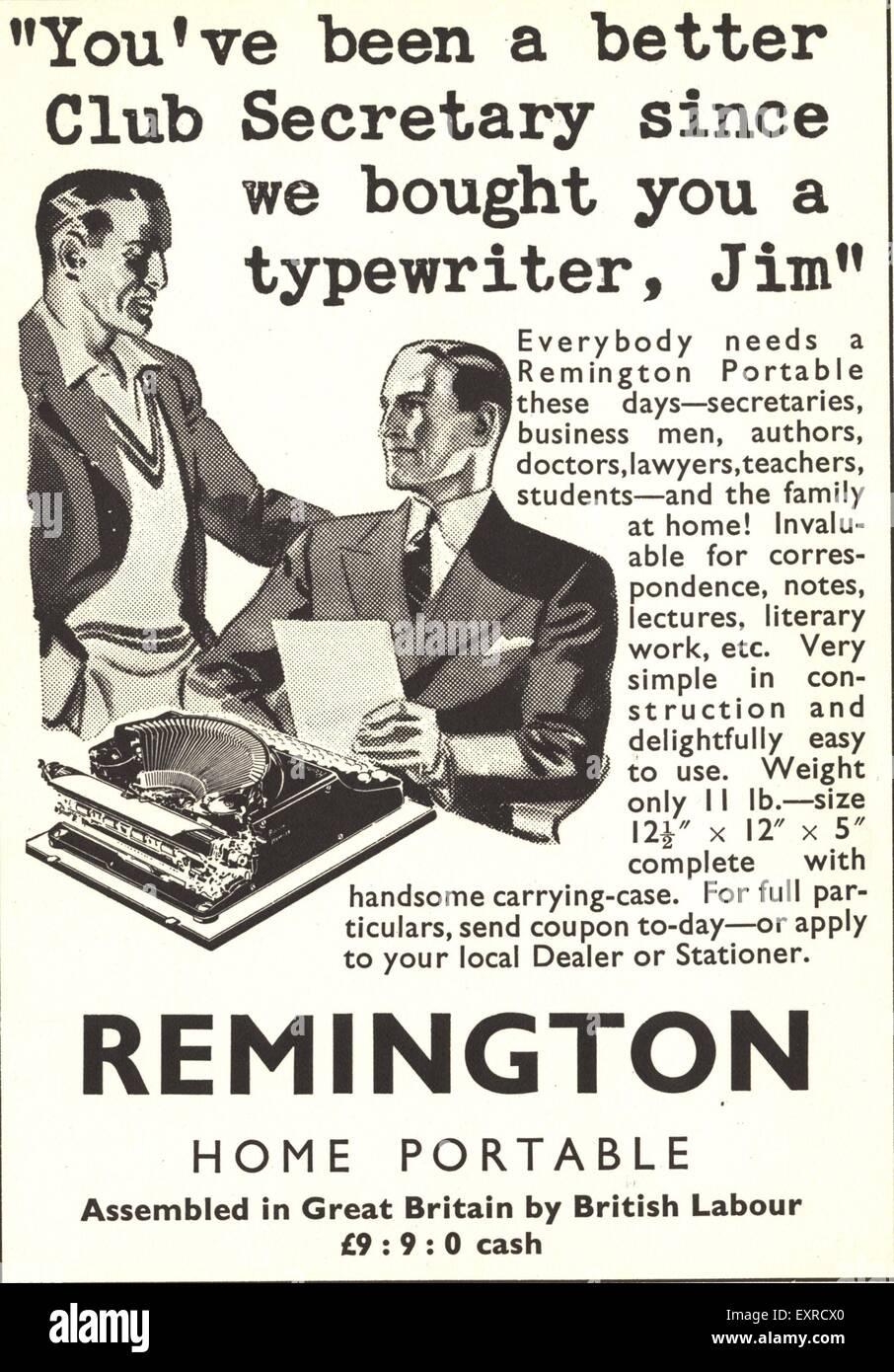 1930s UK Remington Magazine Advert Stock Photo: 85337560 - Alamy