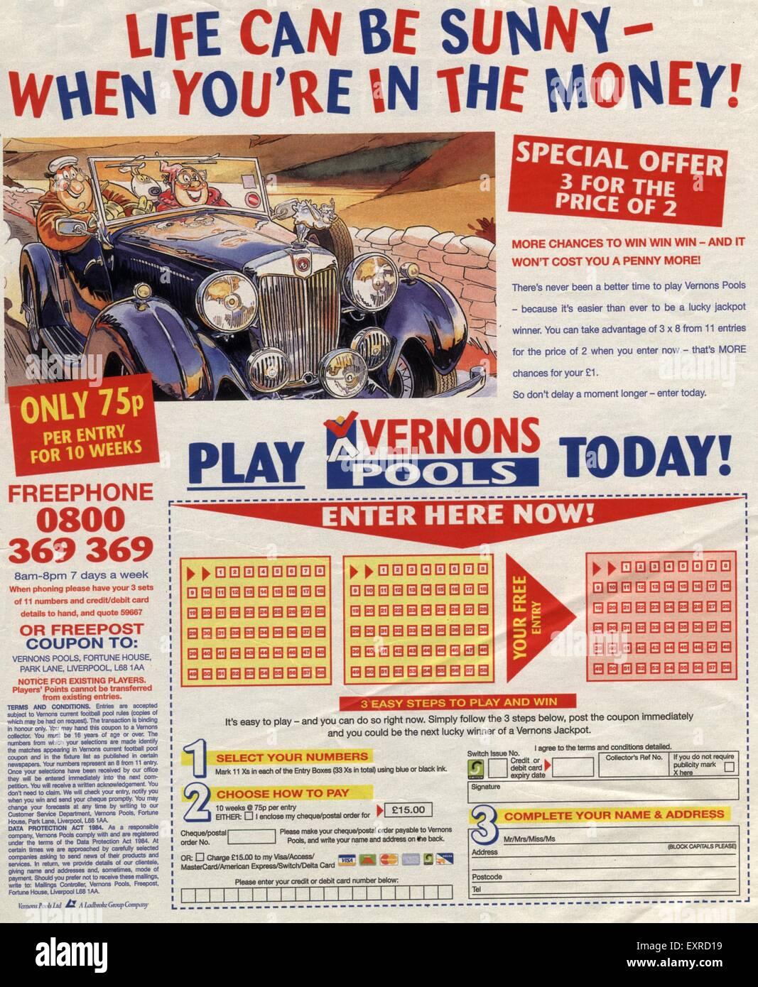 1990s UK Vernons Pools Magazine Advert Stock Photo: 85337653