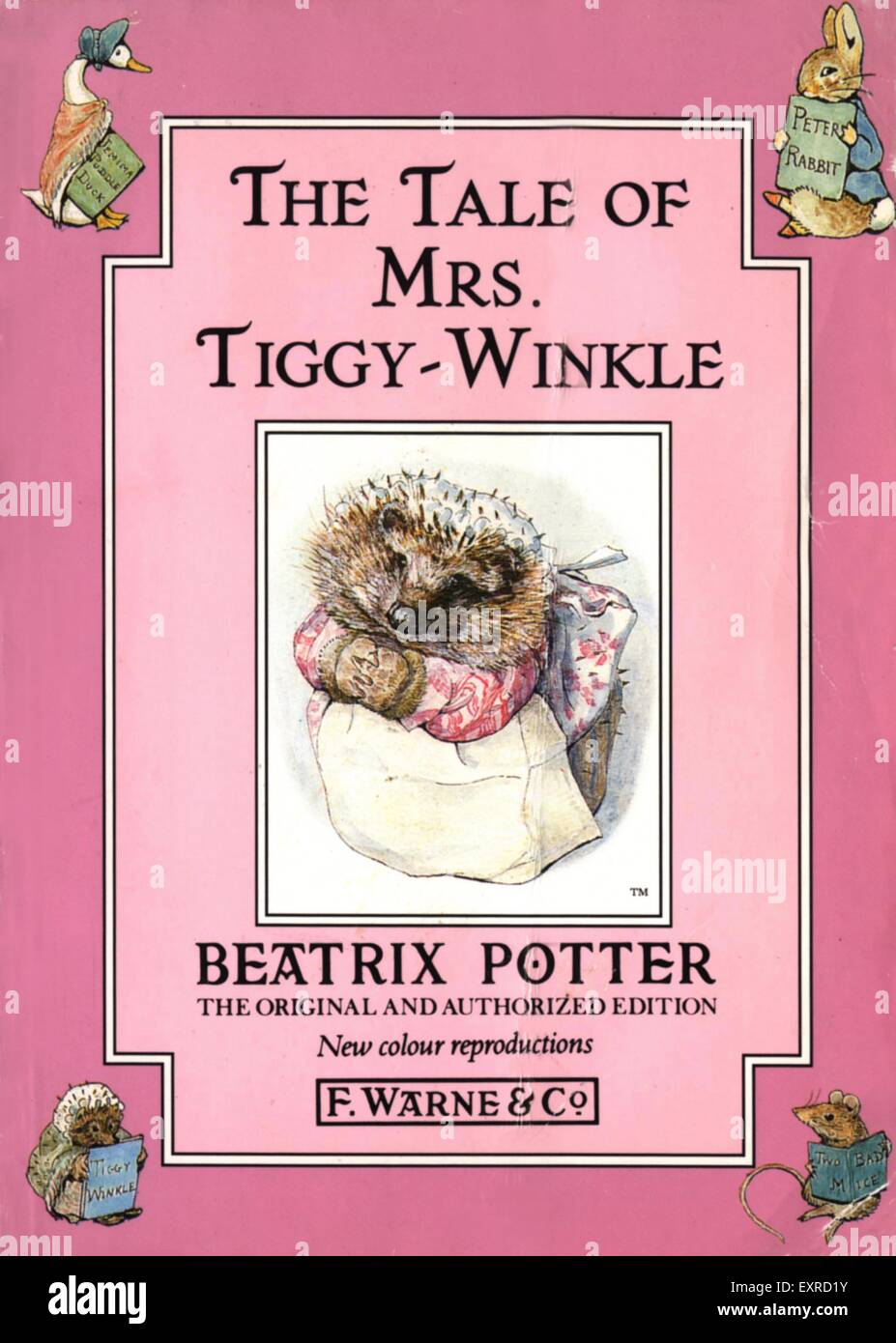 1990s UK The Tale Of Mrs Tiggy-Winkle by Beatrix Potter Book Cover - Stock Image